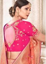 Art Silk Peach Resham Traditional Designer Saree