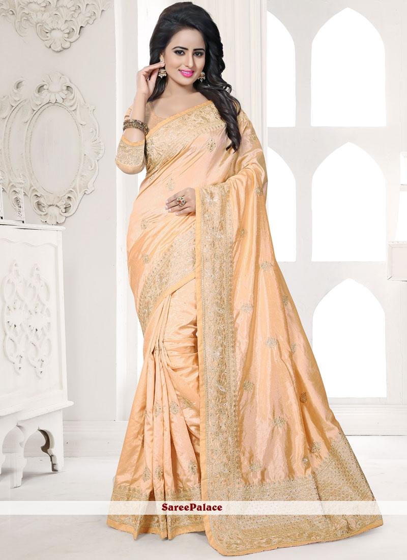 Art Silk Peach Resham Work Traditional Designer Saree