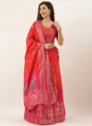 Art Silk Pink and Red Weaving Lehenga Choli