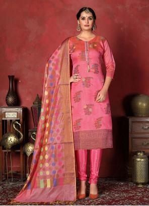 Art Silk Pink Churidar Designer Suit