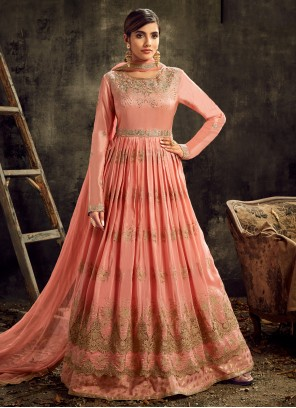 Art Silk Pink Designer Floor Length Suit