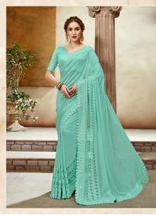 Art Silk Turquoise Designer Saree
