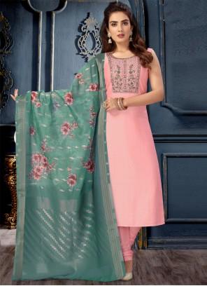 Art Silk Pink Designer Suit