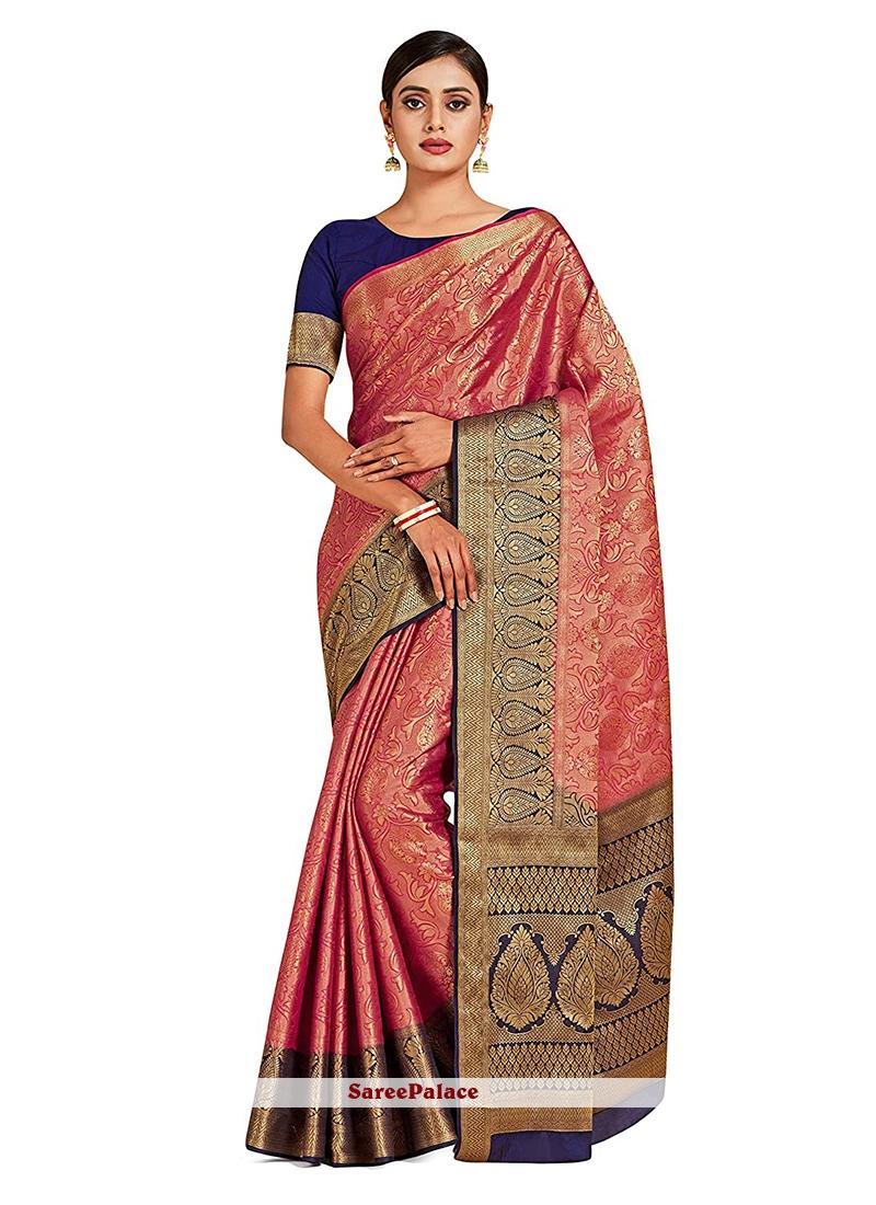 Art Silk Pink Designer Traditional Saree