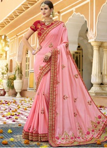 Art Silk Pink Embroidered Designer Traditional Saree