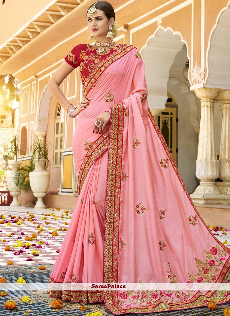 Art Silk Pink Embroidered Designer Traditional Saree