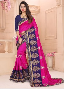Art Silk Pink Embroidered Traditional Designer Saree