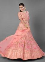 Art Silk Pink Embroidered Trendy Lehenga Choli