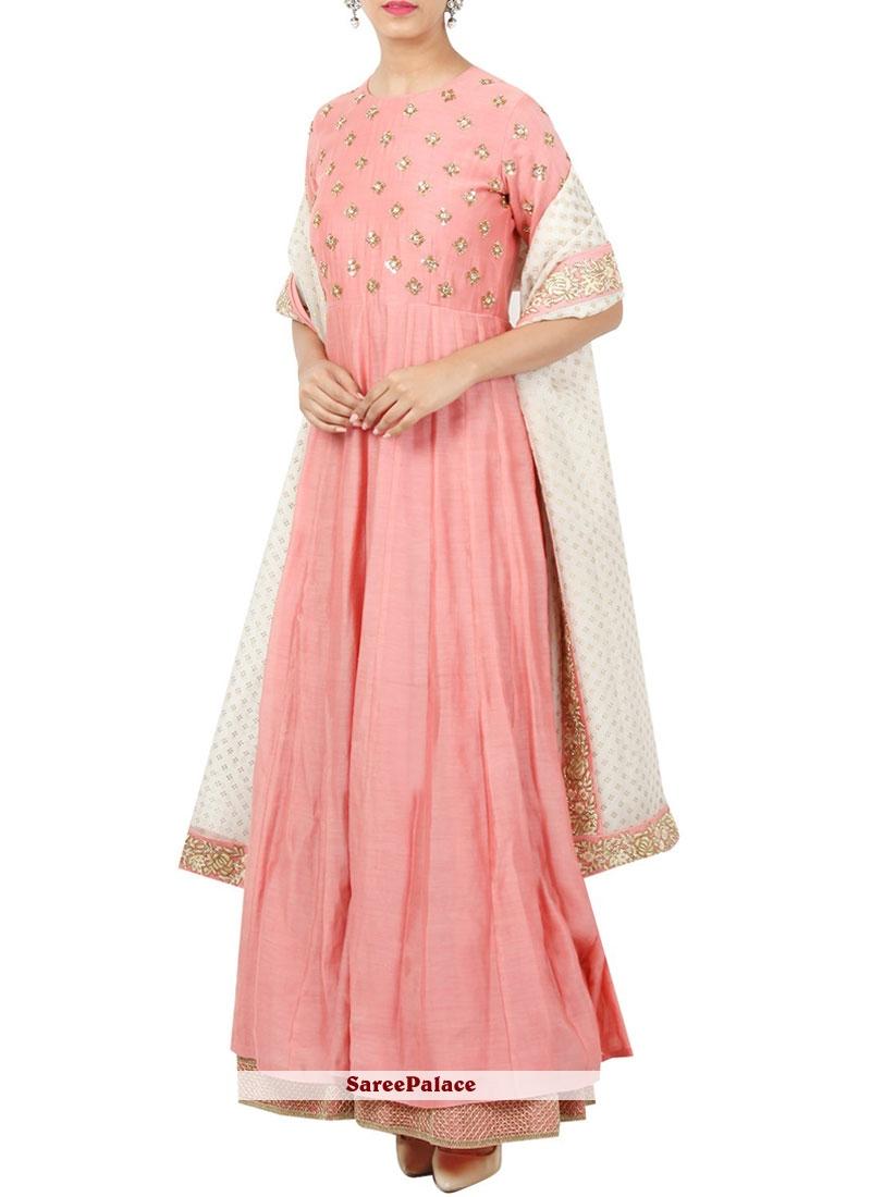 Art Silk Pink Embroidered Work Anarkali Suit
