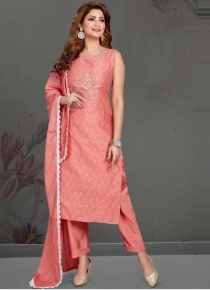 Art Silk Pink Fancy Readymade Suit