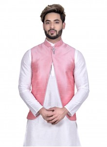 Art Silk Pink Floral Print Nehru Jackets