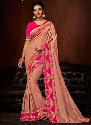 Art Silk Pink Patch Border Traditional Designer Saree