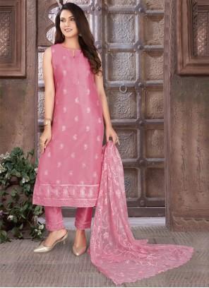 Art Silk Pink Readymade Suit