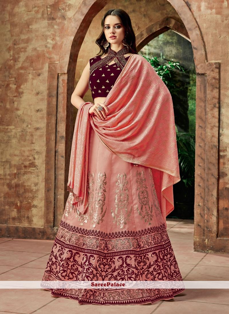 Art Silk Pink Resham Lehenga Choli