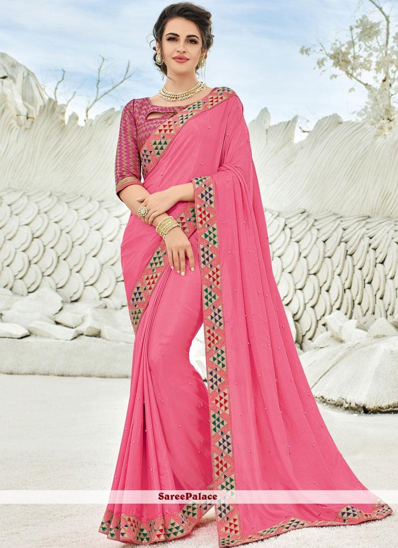 Art Silk Pink Saree