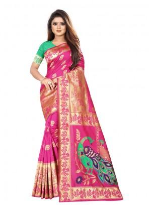 Art Silk Pink Silk Saree