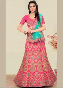 Art Silk Pink Trendy Lehenga Choli