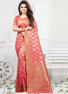 Art Silk Pink Weaving Classic Saree