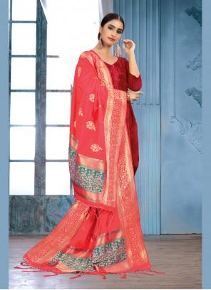 Art Silk Pink Weaving Designer Dupatta