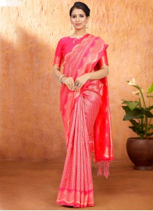 Art Silk Pink Weaving Designer Traditional Saree