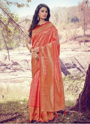 Art Silk Pink Woven Designer Traditional Saree