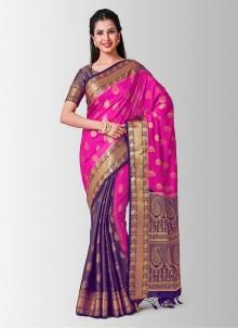 Art Silk Pink Zari Designer Traditional Saree