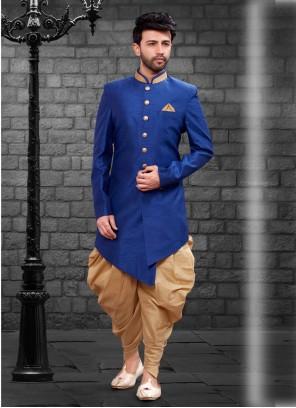 Art Silk Plain Blue Indo Western