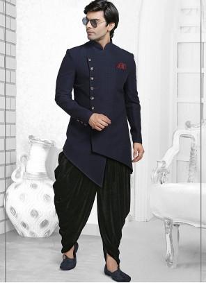 Art Silk Plain Indo Western in Navy Blue