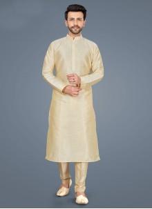 Art Silk Plain Kurta Pyjama in Cream