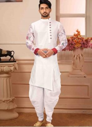 Art Silk Plain Kurta Pyjama in White