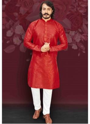 Art Silk Plain Red Kurta Pyjama