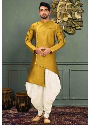Art Silk Plain Yellow Kurta Pyjama