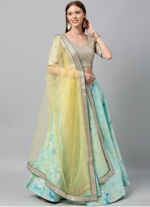 Turquoise Art Silk Print Lehenga Choli