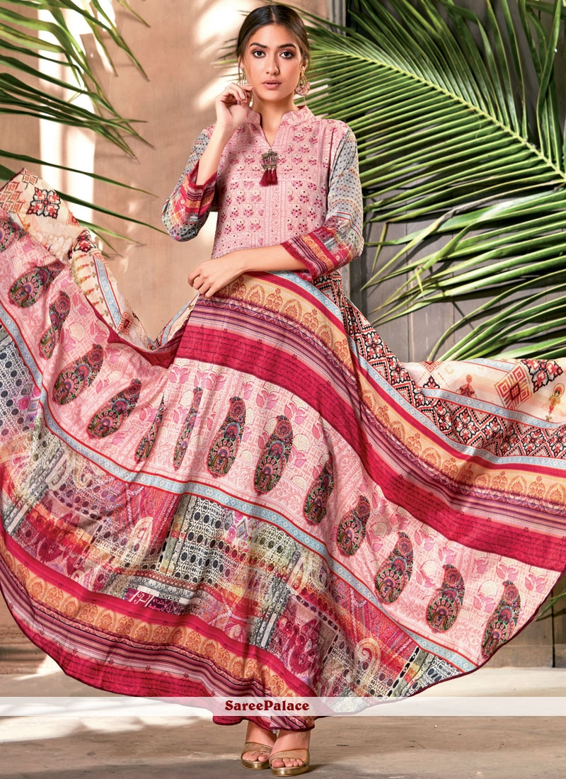 Art Silk Print Party Wear Kurti in Multi Colour