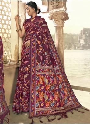 Art Silk Print Saree in Maroon