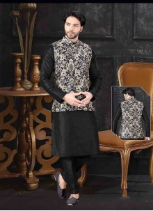 Art Silk Printed Black and Gold Kurta Payjama With Jacket