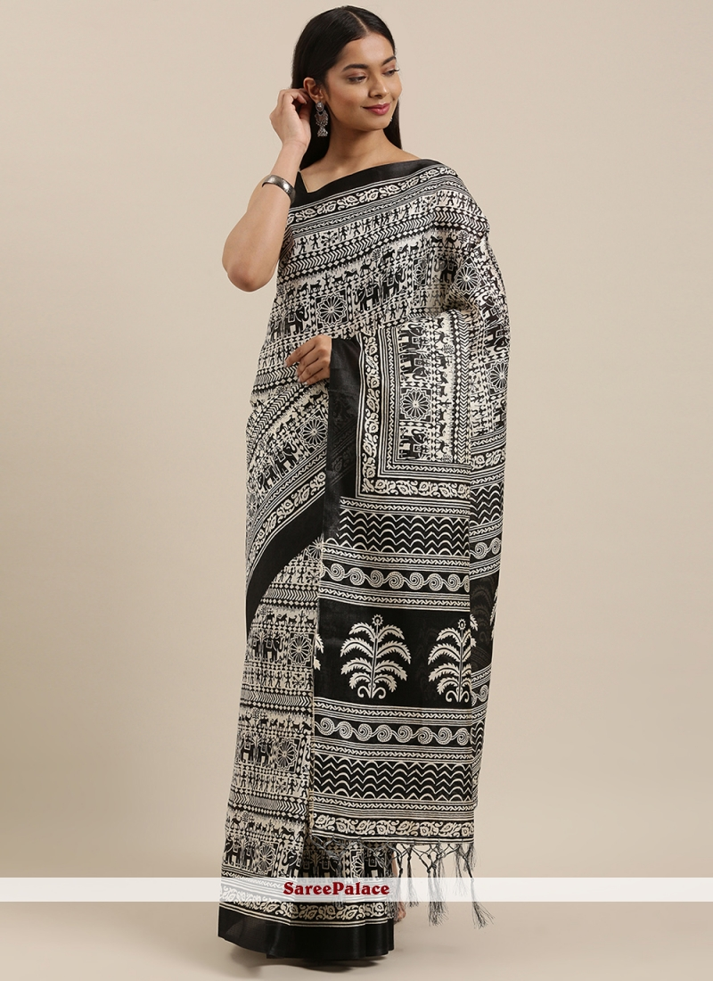 Art Silk Printed Black Designer Saree