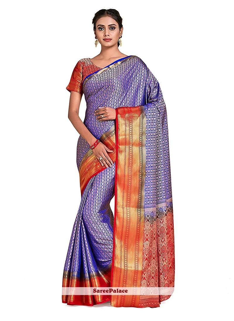 Art Silk Printed Blue Designer Traditional Saree