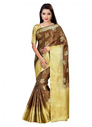 Art Silk Printed Brown Designer Traditional Saree
