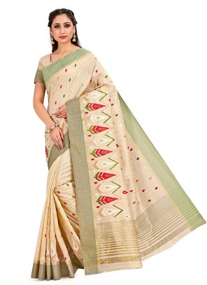 Art Silk Printed Cream Designer Traditional Saree