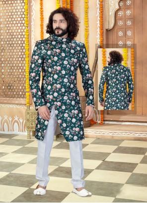 Art Silk Printed Green Sherwani