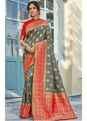 Art Silk Printed Grey Classic Saree