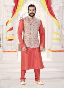 Art Silk Printed Kurta Payjama With Jacket in Multi Colour and Pink