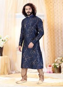Art Silk Printed Kurta Payjama  in Navy Blue