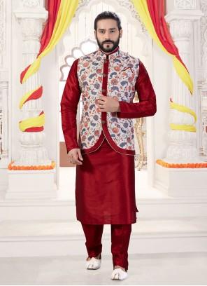 Art Silk Printed Maroon and Multi Colour Kurta Payjama With Jacket