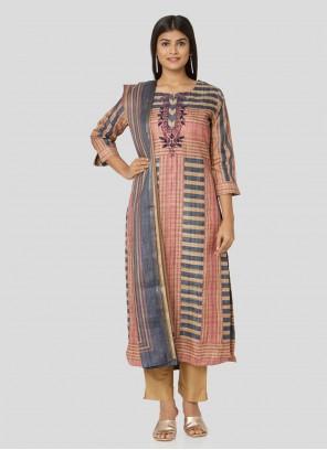 Art Silk Printed Salwar Suit in Multi Colour