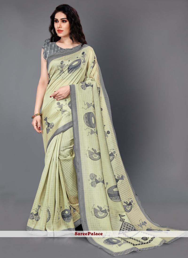 Art Silk Printed Yellow Saree