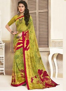 Art Silk Printed Yellow Saree