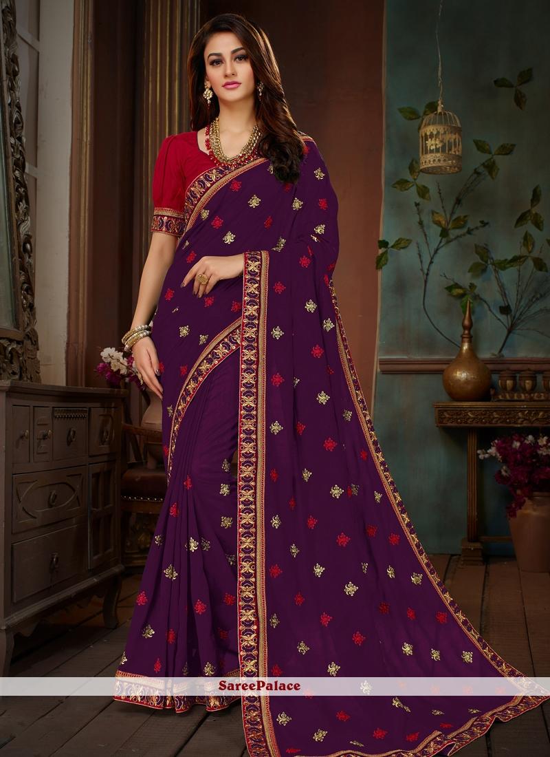 Art Silk Purple Embroidered Designer Traditional Saree