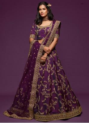 Art Silk Purple Embroidered Lehenga Choli